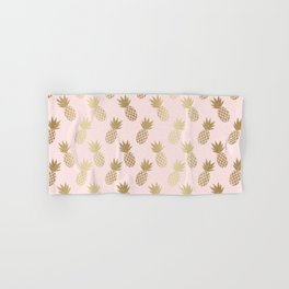Pink & Gold Pineapples Hand & Bath Towel