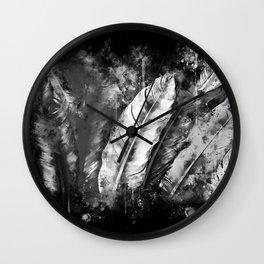 black white bird feathers watercolor splatters Wall Clock