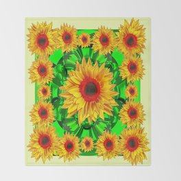 Yellow-Green-red Sunflowers Collage Pattern Design Throw Blanket