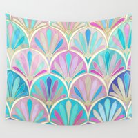deco Wall Tapestries featuring Glamorous Twenties Art Deco Pastel Pattern by micklyn