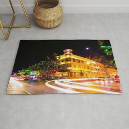 Art Deco Cardozo Hotel South Beach, Miami Night Scene Portrait by Jeanpaul Ferro Rug