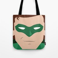 green lantern Tote Bags featuring Green Lantern by Shakeel