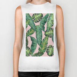 Jungle Leaves, Banana, Monstera II Pink #society6 Biker Tank