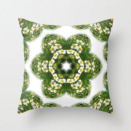 Little White Wildflower Kaleidoscope Art 3 Throw Pillow