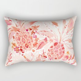 PINEAPPLE JUICE Peach Tropical Floral Rectangular Pillow
