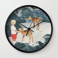 starry night Wall Clocks featuring Starry Night by Sarah Eisenlohr