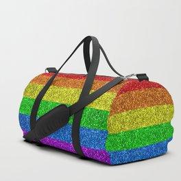 LGBT flag vibrant rainbow glitter sparkles Duffle Bag