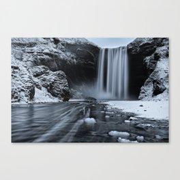 Skógafoss Waterfall Ice Canvas Print