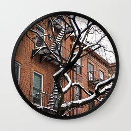 Snowy Street of SoHo, NYC 1 Wall Clock