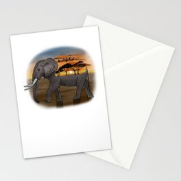 African Elephant, African Sunset, White Background Stationery Cards
