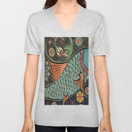 bohemian folk art orange aqua blue japanese good luck koi fish Unisex V-Neck