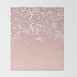 Elegant white lace floral and confetti design Throw Blanket