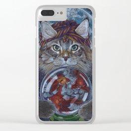 Fortune Teller Cat Clear iPhone Case