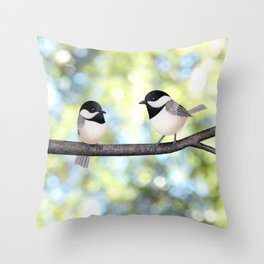 2 black-capped chickadees - bokeh Throw Pillow