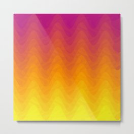 Pink and Yellow Ombre - Waves - Flipped Metal Print