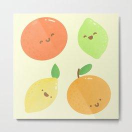Kawaii Citrus Fruit Pattern Metal Print