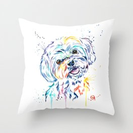 Havanese Colorful Watercolor Pet Portrait Painting Throw Pillow