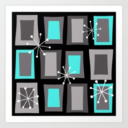Mid Century Modern Art 'Wonky Doors' Turquoise Black Art Print
