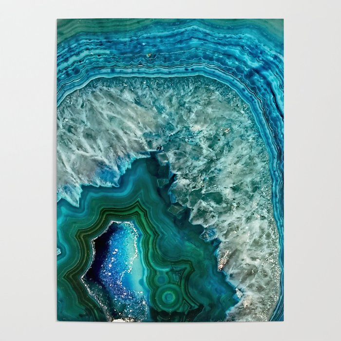 Aqua turquoise agate mineral gem stone Poster