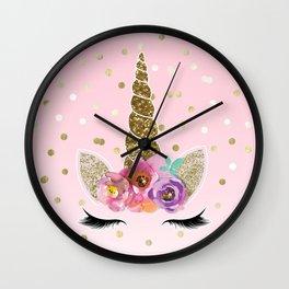 Floral Trendy Modern Unicorn Horn Gold Confetti Wall Clock