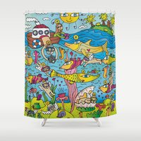 angels Shower Curtains featuring Angels by Kamil Kopecky