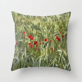 Cornfield Poppy Landscape Throw Pillow