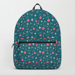 May All Your Wishes Come True, Christmas Hand Lettering with Mistletoe, Tree Ornaments, Snow and Stars, Teal, Coral and White Festive Pattern  Backpack