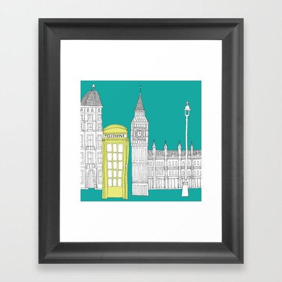 London - City prints // Red Telephone Box Framed Art Print