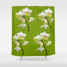 Beautiful white orchid flowers. floral photo art. Shower Curtain
