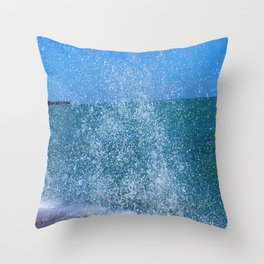 Lake Michigan Natural Fountains #2 (Chicago Waves Collection) Throw Pillow