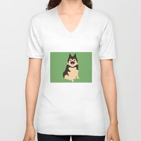german shepherd V-neck T-shirts featuring German Shepherd by Fandango089