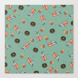 Bubble Tea, Cupcake and Donut Pattern Canvas Print