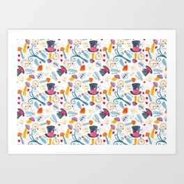 Alice in Wonderland - pattern Art Print
