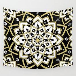 'Immortal Spirit' Mandala Black Gold White Wall Tapestry