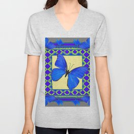Decorative Sapphire Blue Butterflies Abstract & Yellow Unisex V-Neck