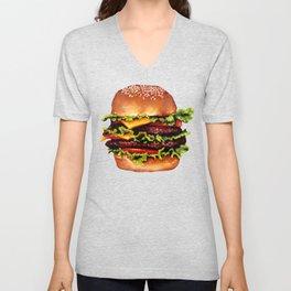 Cheeseburger Pattern Unisex V-Neck