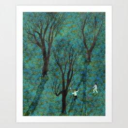 blue flower meadow Art Print
