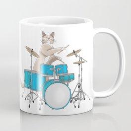 Cat Playing Drums - Blue Coffee Mug