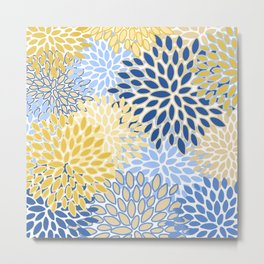 Modern, Floral Prints, Summer, Yellow and Blue Metal Print