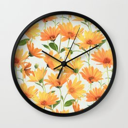 Painted Radiant Orange Daisies on off-white Wall Clock