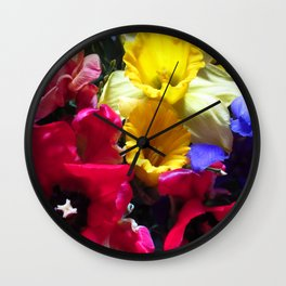 colorful spring flowers, tulips,daffodils, nature Wall Clock