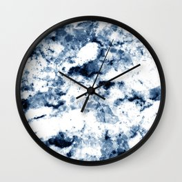 Midnight Blue and Ivory White Marble Design Pattern Wall Clock