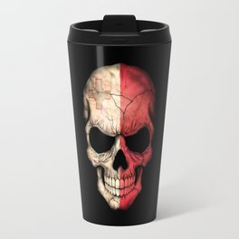 Dark Skull with Flag of Malta Travel Mug