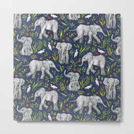 Baby Elephants and Egrets in Watercolor - navy blue Metal Print