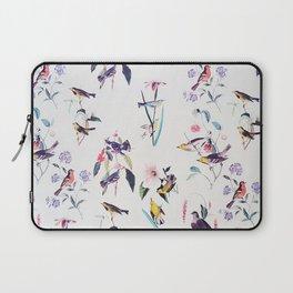 Vintage chic pink teal purple floral birds pattern Laptop Sleeve