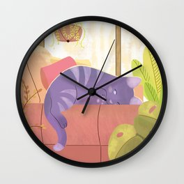 Afternoon cat nap Wall Clock