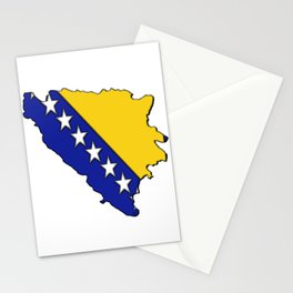Bosnia and Herzegovina Map with Flag Stationery Cards