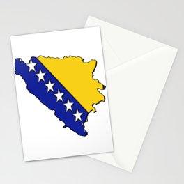 Bosnia and Herzegovina Map with Flag Stationery Cards