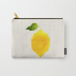 Geometric Watercolor Yellow Lemon Pixel Art Green Leaf Hard Edge Art Aztec Pattern Minimalist Mid Ce Carry-All Pouch