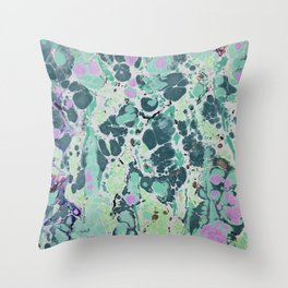Sunken Forest marbleized print Throw Pillow